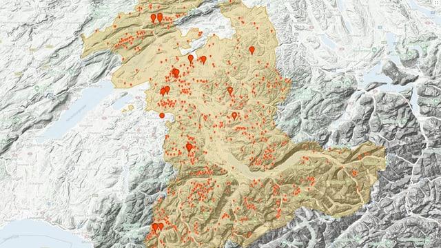 Karte mit kartierten Ameisenhaufen.
