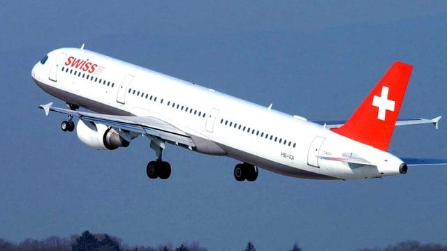 Ein Flugzeug in der Luft.