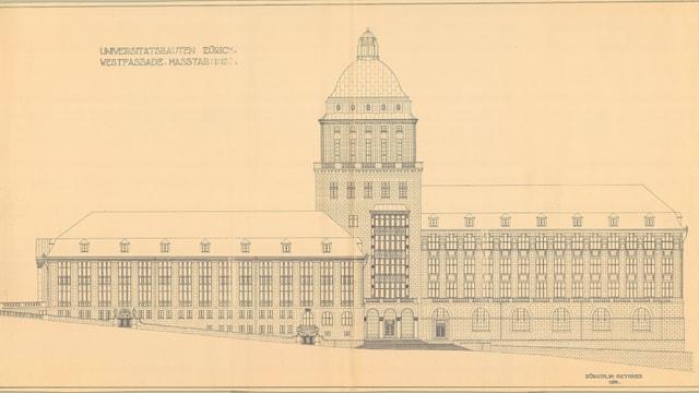 Plan der Uni Zürich, Zeichnung des Architektes Karl Moser