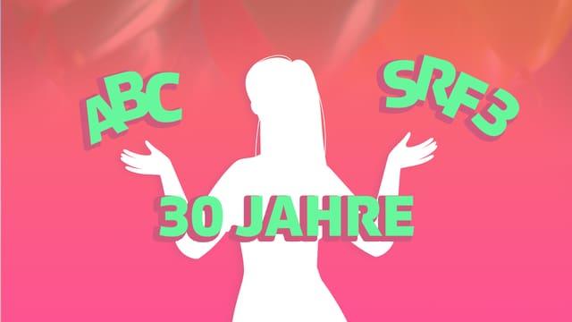 Die Silhouette einer Frau. Auf ihren Händen balanciert sie den Schriftzug ABC SRF 3.
