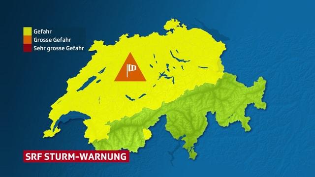 Schweizerkarte mit Windwarnung über dem ganzen Norden und der Alpennordseite.