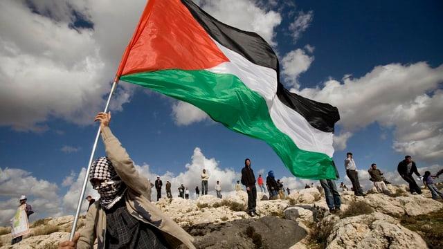 Ein Mann schwenkt eine Palästinenserflagge.
