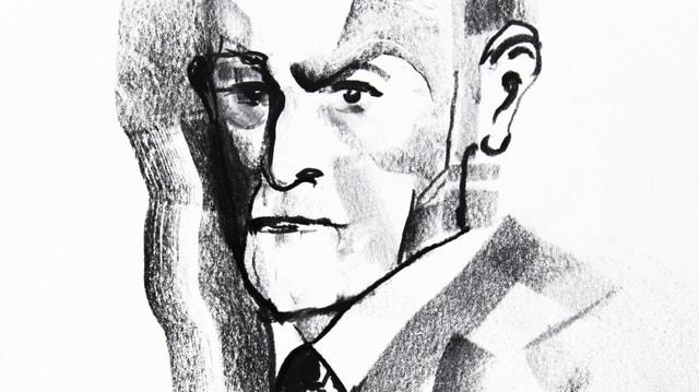 Sigmund Freud Zeichnung in Schwarz Weiss.