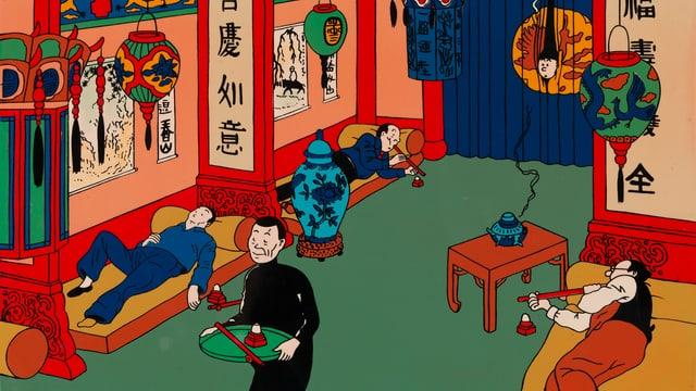 Aus Timm und Struppi: man sieht drei Menschen, die auf drei verschiedenen Sofas liegen. Zwei von ihnen rauchen. Ein vierter Mensch geht im Raum umher und Timm schaut hinter einem Vorhang hervor.