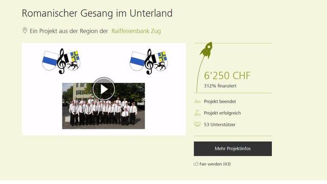 La pagina da la campagna dal Chor Rumantsch Zug