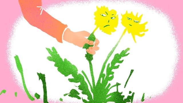 Illustration: Hand reisst eine Blume ab, Blume schaut hässig