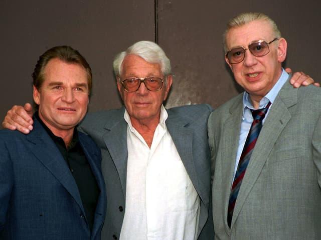 Die «Derrick»-Macher: Nebendarsteller Fritz Wepper, Autor Herbert Reinecker und TV-Star Horst Tappert.