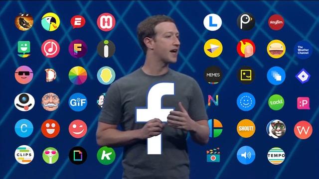 Mark Zuckerberg stellt den Facebook-Messenger vor, im Hintergrund sichtbar sind dei Icons der neuen Apps für den Messenger.