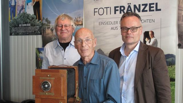 Benno Kälin, Franz Kälin und Franz Kälin jr. (v.l.n.r) im Kino Cineboxx in Einsiedeln.