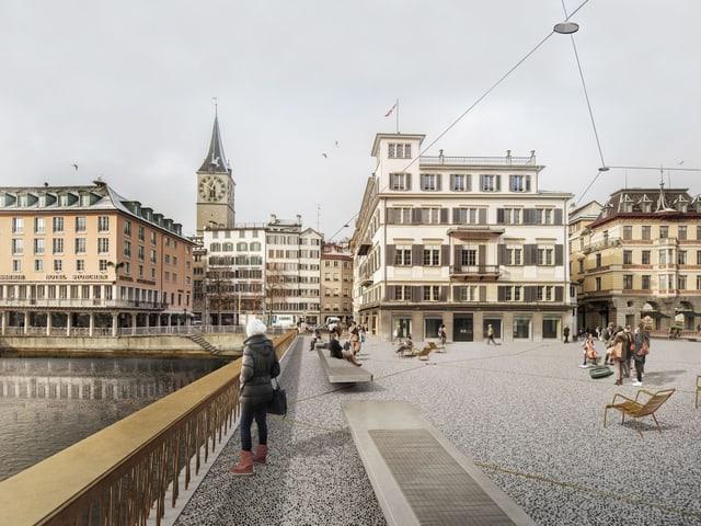 Visualisierung der neuen Gemüsebrücke mit Limmat, dem Hotel Storchen. Auf der Brücke ein langes Geländer und neuen lange Sitzbänke.