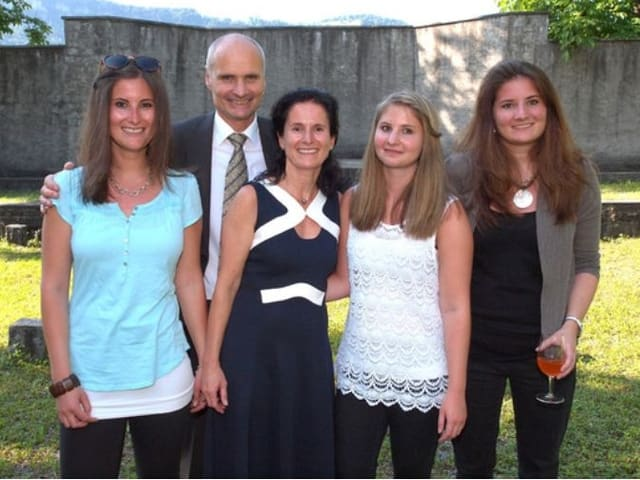Ueli Amstad mit seiner Familie in Stans