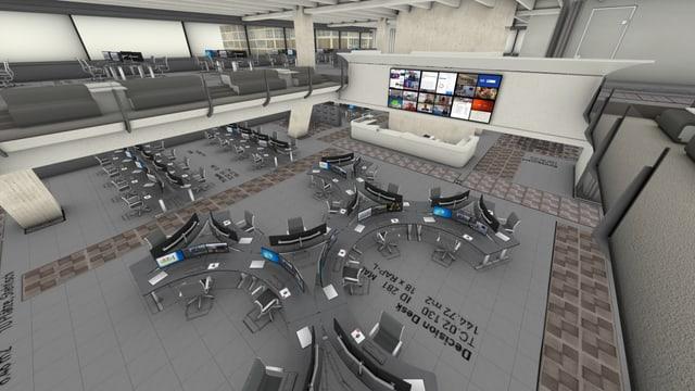 Modellansicht Innenraum SRF-Newsroom