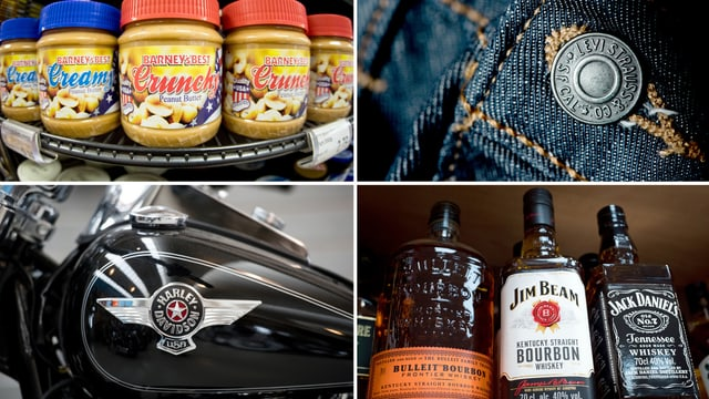 Products americans: peannutbutter, jeans, töfs, whisky