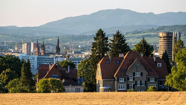 Ausblick vom Bruderholz auf die Stadt Basel.