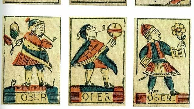 Alte Jasskarten mit verschiedenen Darstellungen des Ober.
