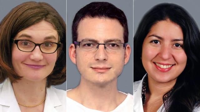 Portträtaufnahme von Dr. Claudia Candreia, Dr. Adrian Lehner und Dr. Eva Novoa