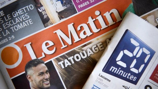 """Zeitungsköpfe von """"Le Matin"""" und """"20minutes"""""""