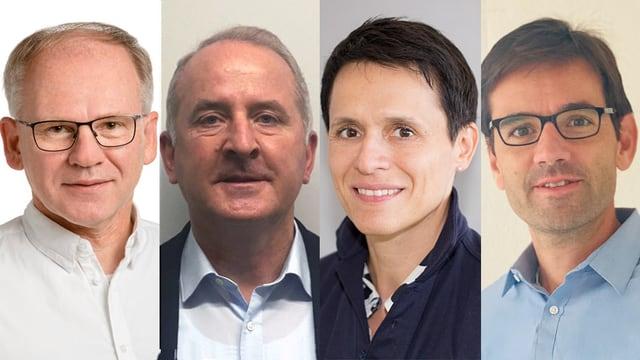 Vier Gesichter. Von rechts nach links: Mann mit Brille, Mann in hellblauem Hemd, Frau mit kurzen Haren, Mann mit Brille und hellblauem Hemd