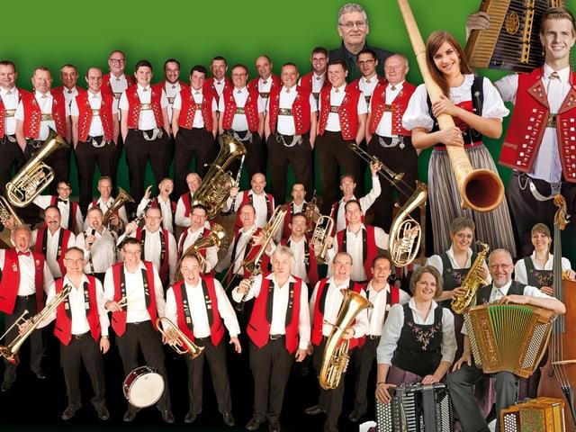 Bildcollage mit verschiedenen Musikanten und Musikantinnen aus der Schweizer Volksmusik.