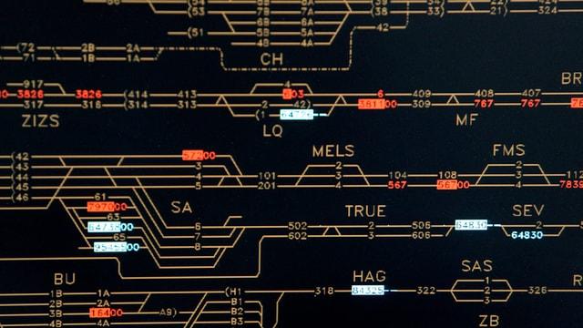 Ausschnitt aus einem Streckennetz, dargestellt als Karte in einem Stellwerk.