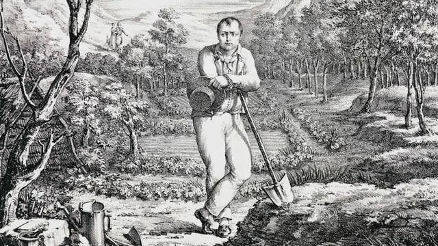 Napoleon auf einem Feld am arbeiten