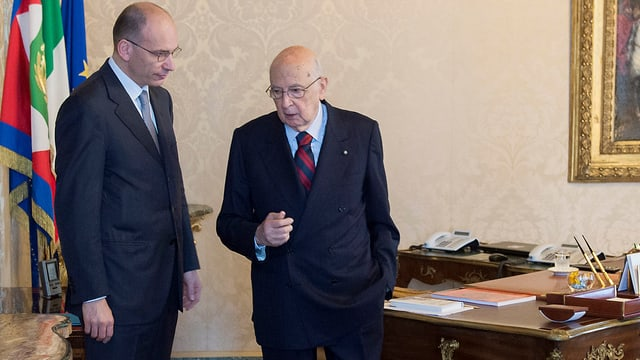 Letta und Napolitano im Gespräch.