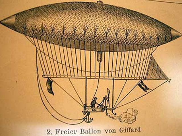 Zeichnung des Luftschiffs von Giffard.
