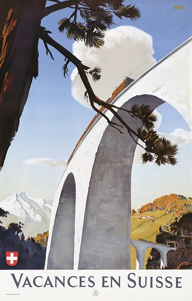 Plakat: Ein Zug fährt über ein Eisenbahnviadukt, im Hintergrund Berglandschaft.