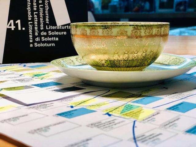Eine Tasse Grüntee steht auf Audrucken mit dem Programm der Solothurner Literaturtage