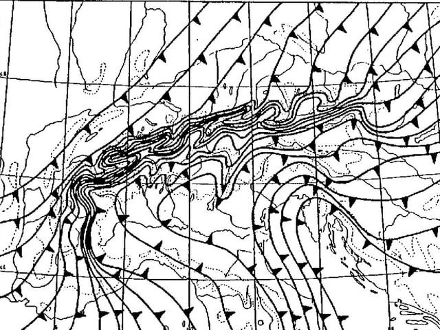 Schematische Momentaufnahme einer Kaltfront, die zeitlichen Positonen sind in einem Bild eingetragen.  Es handelt sich um Linie mit kleinen Dreiecken, die Spitzen weisen in die Bewegungsrichtung.