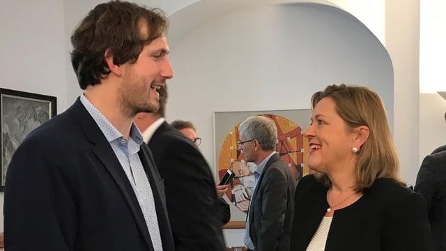 Die Urner Politikerin Heidi Z'graggen mit Parteipräsident Flavio Gisler
