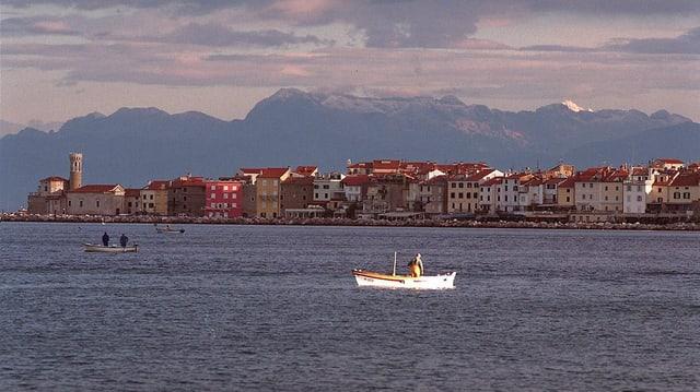 Ein Fischer auf einem weissen Boot in der Bucht der slowenischen Stadt Piran, im Hintergrund Berge.