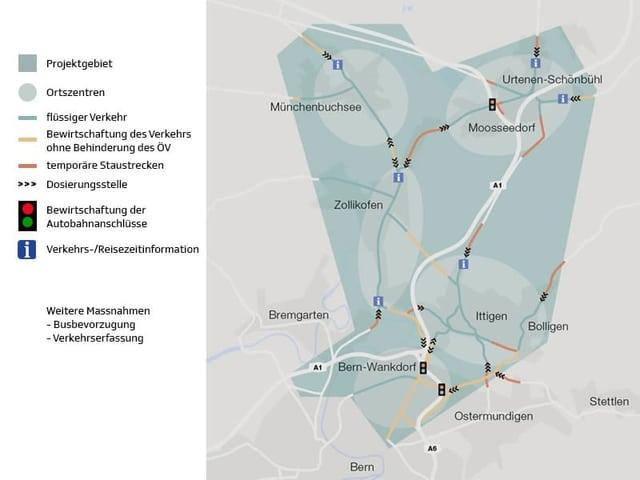 """Karte mit eingezeichneten Linien, wo der Verkehr flüssig läuft und wo er künftig """"bewirtschaftet"""" wird."""