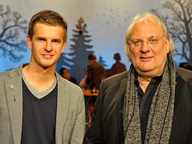 Moderator Nicolas Senn und sein Gast Valentin Bischof.