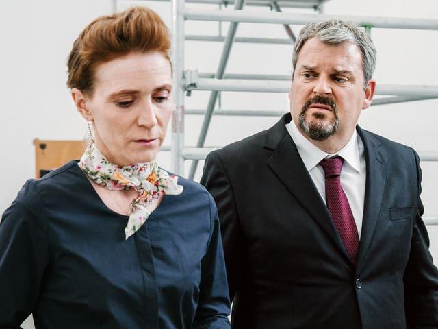 Judith Hofmann als Katharina Pulver, Mike Müller als Luc Conrad.