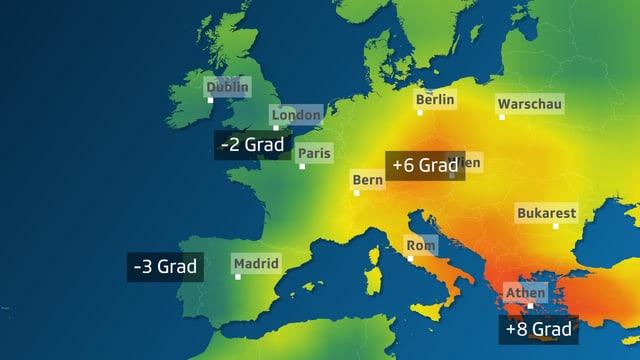 Europakarte, Osteuropa orange, Schweiz gelb, rest grün oder blau.