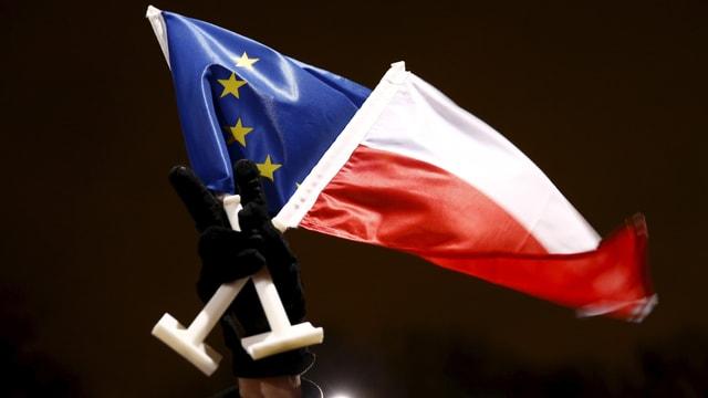 Eoine Hand in einem schwarzen Handschuh streckt vor dunklem Himmel eine EU- und Polenflagge in die Höhe.