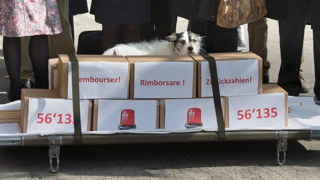 Pakete mit gesammelten Unterschriften vor dem Bundeshaus in Bern.