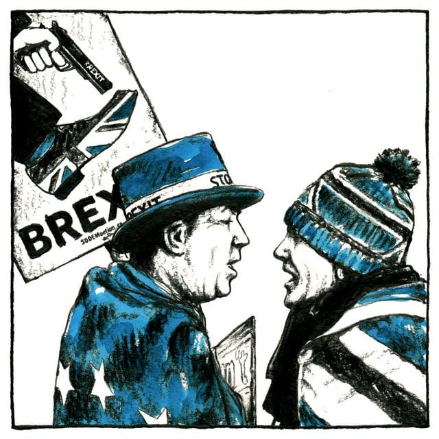 Dissegn da dus umens cun placat da Brexit.