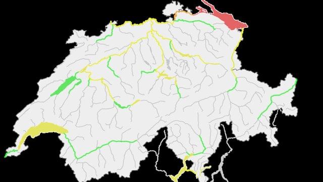 Die aktuelle Hochwasserkarte des BAFU. Auf dem Bodensee gilt Stufe 4.