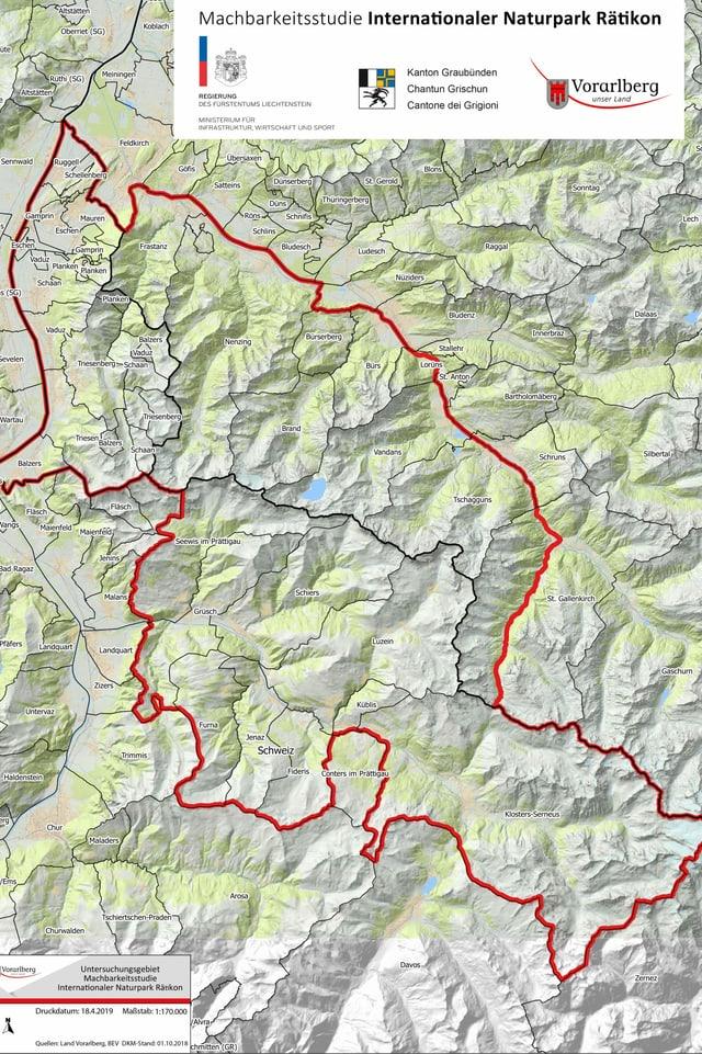 Der geplante Park erstreckt sich über drei Länder: Die Schweiz, Liechtenstein und Österreich.