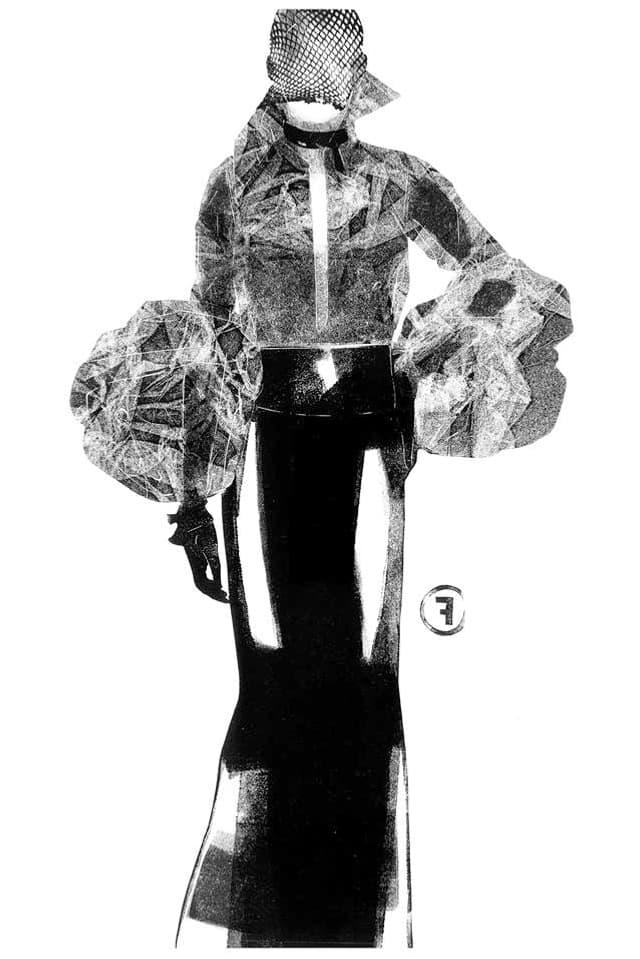 Frau mit langem Rock und Kleidern im Röntgenblick.