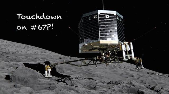 Das Landegerät «Philae» mit einem Landefuss auf dem Kometen.