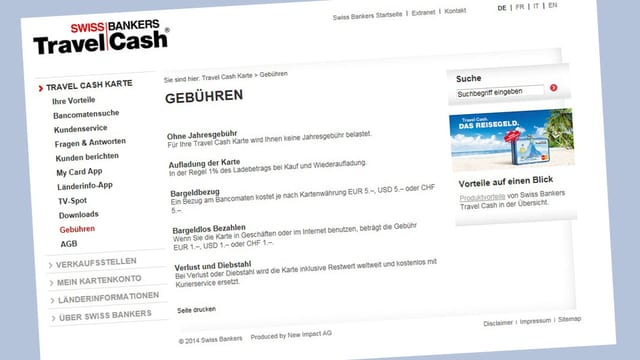 Printscreen der Internetseite von Travel Cash.