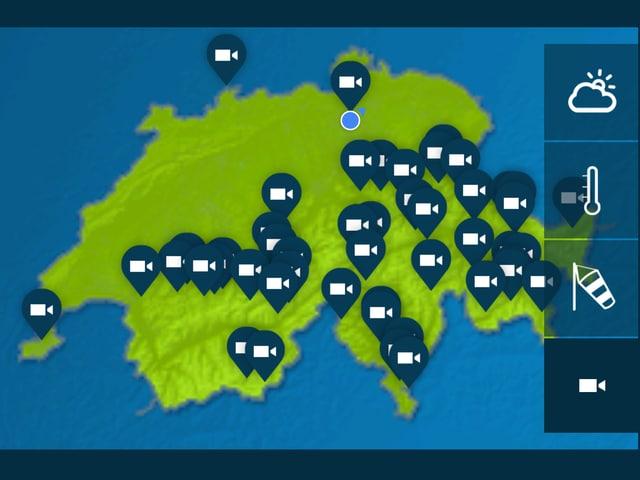 Schweizer Karte mit allen Kamerastandorten.