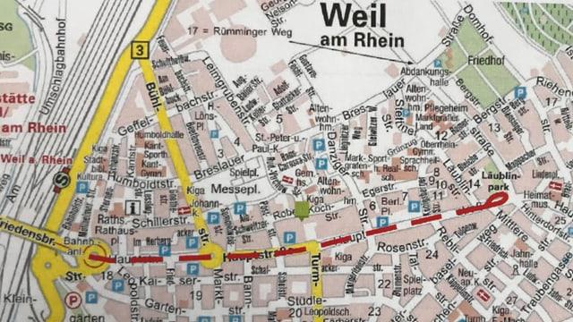 Die rote Linie zeigt die Streckenführung der geplanten Tramverlängerung.
