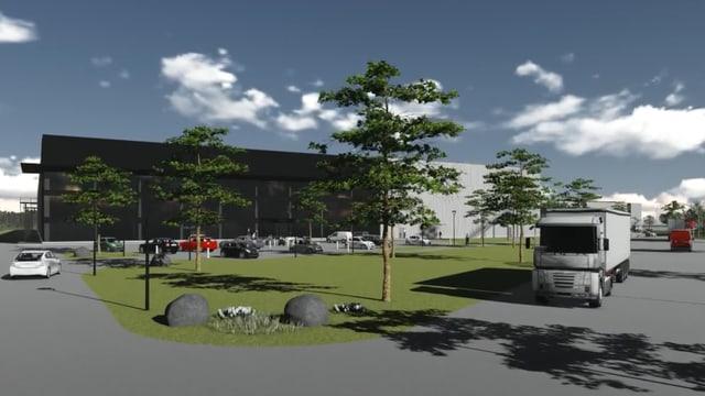 Visualisierung des neuen Logistikzentrums.