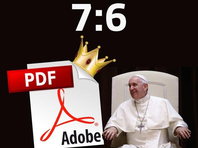 Papst Franziskus lacht einem PDF zu, das eine Krone trägt.