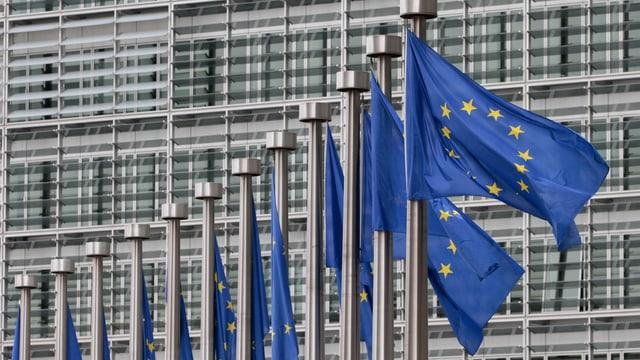 EU-Fahnen im Wind vor EU-Gebäude in Brüssel.