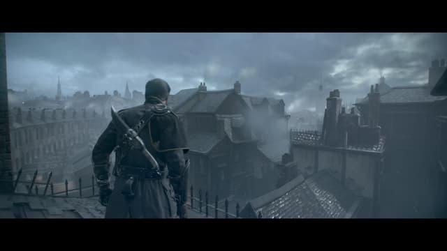 Galahad über den Dächern des dreckigen Londons.